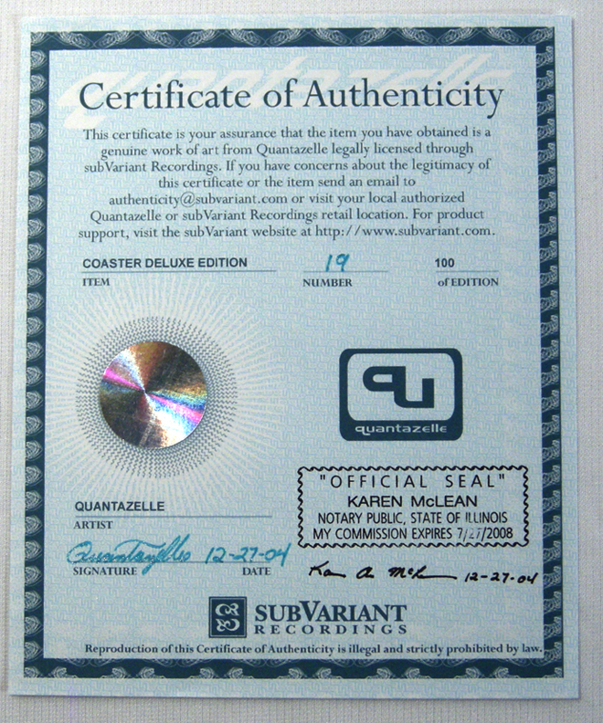 Similar Certificate Of Authenticity